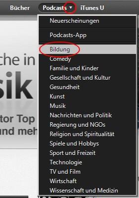Podcasts zum Englisch lernen finden - Suche in Kategorien