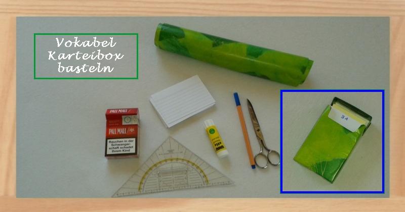 Vokabel Karteibox selber basteln - Benötigte Materialien
