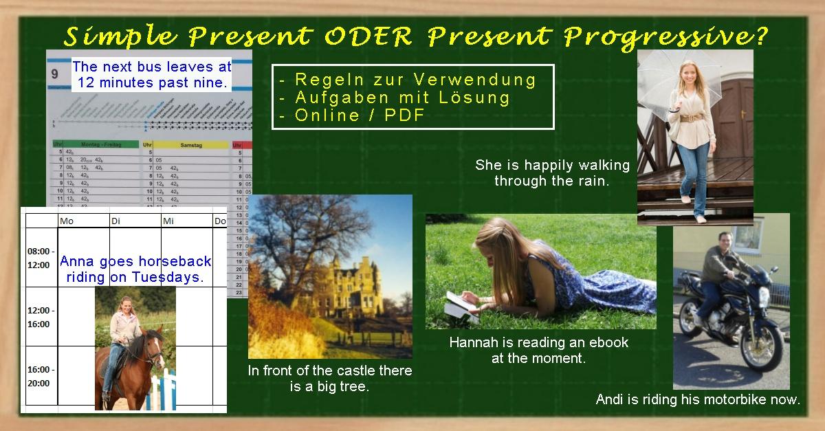 Übungsaufgaben mit Lösung zum Simple Present oder Present Progressive