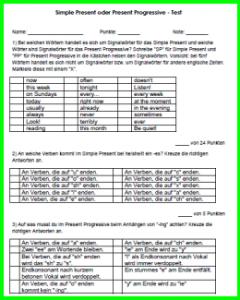 Englisch Test Simple Present und Present Progressive