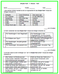 Englisch Test Simple Past 7. Klasse