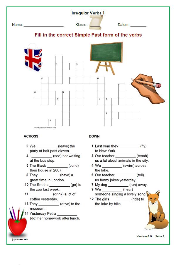 Kreuzworträtsel Irregular Verbs 1