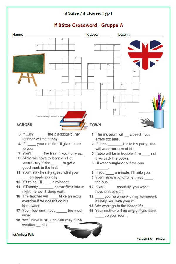 Kreuzworträtsel zu den if Sätzen Typ 1